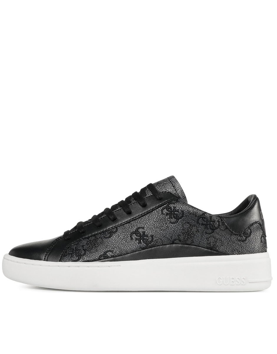 GUESS Verona Leather Stamped Trainers Black